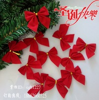 12pcs Christmas new year decoration small bow rattails garishness tree hangings red/gold