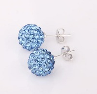 Min order is $10(mix order)Shamballa jewelry Micro Pave CZ Disco 8mm Ball crystal clay Stud earrings shambala women ER042