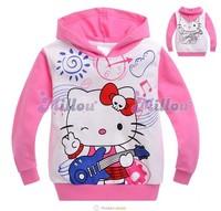 Hot sale girls hello kitty hoodies with cap kids pink KT cat sweatshirt children's Autumn tops baby clothing wholesale 6pcs/lot