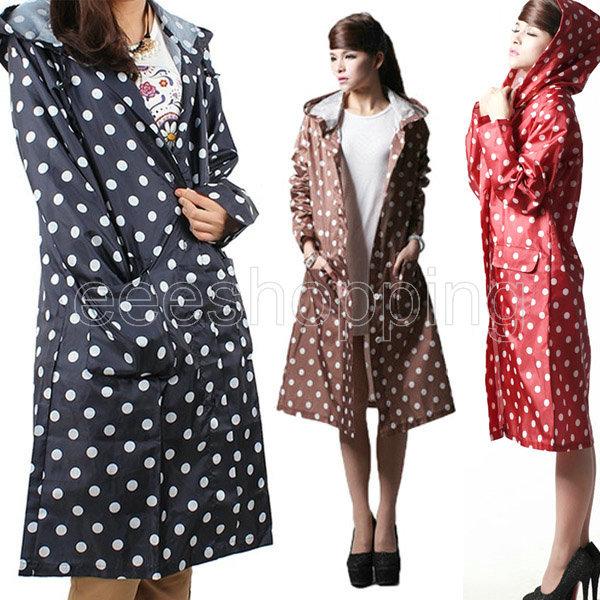 Q556 New Dot Outdoor Travel Women Ladies Girl Waterproof Riding Clothes Raincoat Poncho Pocket Hooded Knee Long Rainwear Nylon(China (Mainland))