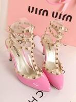 Stilettos Zapatos Fashion high-heeled thin heels sapatos feminino sexy sandals genuine leather liner single shoes women's pumps