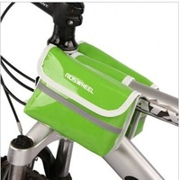 Green Cycling Bike Bicycle Pannier Frame PU Leather Front Tube Bag Waterproof
