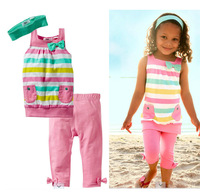1 pieces retail new cotton casual children girls summer clothing set toddler suits tank with pants and headband