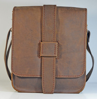 New Hot Crazy Horse Genuine Leather Men's Brown Shoulder Messenger Bag Crossbody