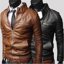 Hot Sale! New 2014 Fashion Men Leather Jacket Collar Men's Leather Motorcycle Leather Winter Jacket Coat(China (Mainland))