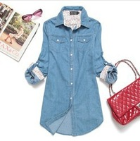Fashion Blouses Denim Shirt Women 2013 Autumn Long-Sleeve Jacket Plus Size Outerwear Free Shipping S,M,L,XL,XXL,XXXL