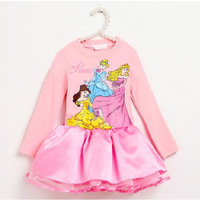 New Arrival 2103 Fall Winter Princess Clothes Girl's Cartoon Pink Long sleeve dress dance party Clothing 90-130 Free Shipping