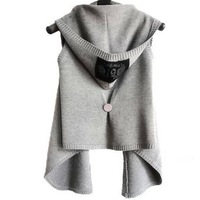 With a hood vest wool sweater cardigan female cape sweater outerwear