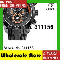 Drop shipping! Free Shipping men BLACK ORANGE SILICONE STRAP CHRONOGRAPH SPORTS LUXURY WRIST WATCHES HB1512662 + GIFT BOX