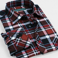 Male 100% long-sleeve cotton sanded plaid shirt male 100% cotton sanded thickening shirt autumn