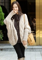 2014 autumn and winter irregular sweep loose twisted batwing cape shirt long design cardigan sweater female