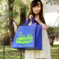 Large capacity thickening bottom plate eco-friendly bag shopping bag storage bag fashion vintage blue casual shoulder bag tote