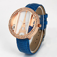 Free shipping  Leather wrist Watch shiny crystal surround wrist watch supere gift for women 2013