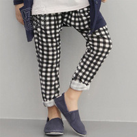 2013 spring brief plaid boys clothing girls clothing child long trousers casual pants kz-0946
