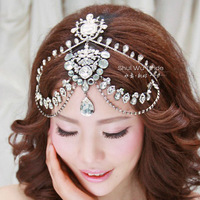 Freeshipping Luxury handmade forehead marriage tassel hair accessory with earrings set, rhinestone wedding  hair jewelry