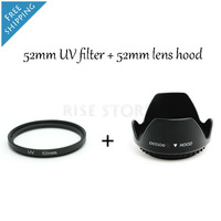 52mm UV Ultra-Violet Filter Lens Protector for camera  & Lens hood Free shipping & tracking number