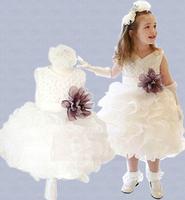 2014 New girls sleeveless waist Chiffon dress children toddler 3D Flower Tutu Layered princess Party Bow Kid Formal Dress 5pcs