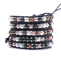 free shipping!! Five laps wound shell pearl weave beautiful pearl bracelet Christmas the best gift for a woman