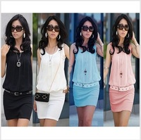 New !! 2013 Summer Women's Mini Dress Crew Neck Chiffon Sleeveless Causal Tunic Sundress 4 colors Free Shipping
