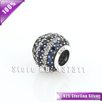 925 Sterling Silver Blue and white crystal Stripe Pave Bead Fits For European Style  Woman Charm Bracelets & Necklaces LW212C