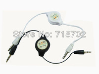 Free Shipping 10pcs Retractable 3.5 mm Male To Male Adapter Audio line Extension Aux Cable for Speakers/Mp5