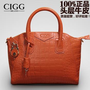 Cigg women's genuine leather handbag crocodile pattern women's bags cross-body handbag female 2013 first layer of cowhide