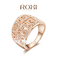 11.11 ROXI brand Fashion wide vintage lord of the  Ring Rose Gold Plated wedding ring with Austrian Crystal vintage jewelry