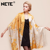 2013 plate buttons mulberry silk shawl heavy silk double layer silk scarf cape