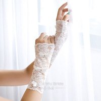 Free Shipping High-Quality Fashion Wedding White with Beads Fingerless Short Bridal Gloves Lace