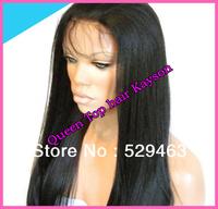 Fashion Yaki straight  human hair wigs virgin brazilian hair Front Lace wig / Full Lace Wig for black women Density130% in stock