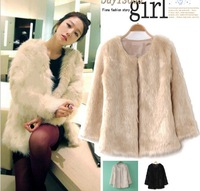 Free shipping Korean fashion wild three-color Leather grass hairy coat and long coat