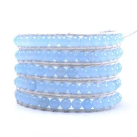 free shipping! Five laps wound Aquamarine semi-precious stones woven bracelets, leather wrap bracelet wholesale 2103 new