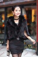 White, black, cross mink fur, genuine mink fur with fox fur collar coat, mink hair knitted cape, sable fur waistcoat free women