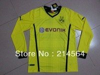 Thai Quality Dortmund 2013/2014 Champions League soccer jersey Long sleeve jersey soccer uniforms free ship Size: S/M/L/XL