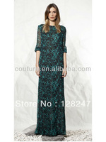 High Quality Printed Chiffon Dark Green Half Sleeve Straight Design Prom Dress for wedding Party PDM-0057