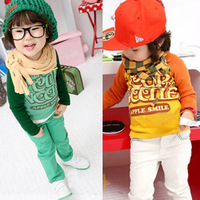 2013 autumn baby clothes autumn children's clothing male female child child baby letter long-sleeve T-shirt 0224 basic shirt