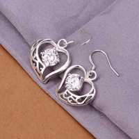 Hot Sell!Wholesale 925 silver earring,925 silver fashion jewelry Earrings,Inlaid Stone Hollow Heart Earring SMTE254