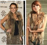 Hot Fashion Raccoon Fur Coat Vest Women Knitted Natural Rabbit Fur Vest Sale Retail / wholesale Gilet / waistcoat