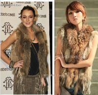 Hot Fashion Raccoon Fur Coat Vest Women Knitted Natural Rabbit Fur Vest Sale Retail / wholesale Gilet / waistcoat