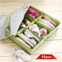 Shoe Storage2013 New bamboo charcoal Non-Woven Fabric shoe storage container/storage box for 6 pairs of shoes Free Shipping 3Pcs