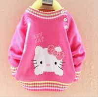 2013 hot sale style lovely autumn winter kids warm casual wear children's clothes baby boys girls cartoon hello kitty sweaters
