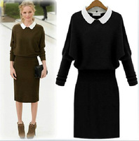 new fashion 2013 Spring Autumn&Winter women long sleeve knitted dresses Removeable Collar Elegant slim dress black.blue.green