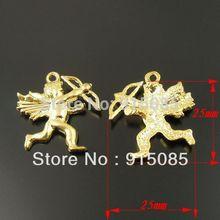 Whosesale Gold Tone Vintage Style Cupid Angel Alloy Charm Pendant 25*25mm 20pcs 33706
