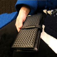 2013 Fashion Brief Drawstring Long Design Vintage Knitted Pattern Genuine Leather Women's Clutch Wallet Women Purse