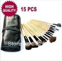 HOT Black Professional 15pcs Makeup Brush Sets Brand Make Up Brush Set With Carry Bag Free Shipping Drop shipping