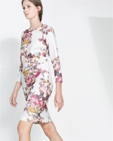 582156 Fashion O-neck Full Flower Print 3/4 Sleeve Sexy Dress Women Casual Party Dress