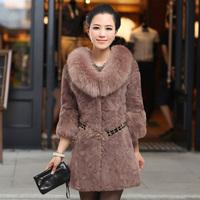 2014 women's real rabbit fur coat with raccoon fur collar lady hot winter warm clothing free ship good price genuine fur jacket