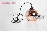 Free shipping Modern Artistic Tom Dixon Bronze Copper Shade Gold Glass Pendant Light Living Room Dining Room Light Dia 15cm
