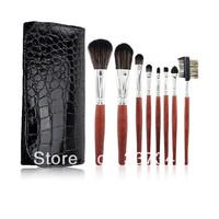 New Arrival Professional 8 Pcs Basic Travel Brush Set Makeup Cosmetic Make Up Brushes Tools Soft nylon Hair with Leather Case