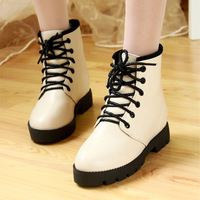 big size 2013 women's Autumn winter lacing flat boots with a single fashion martin boots cotton padded shoes snow boots